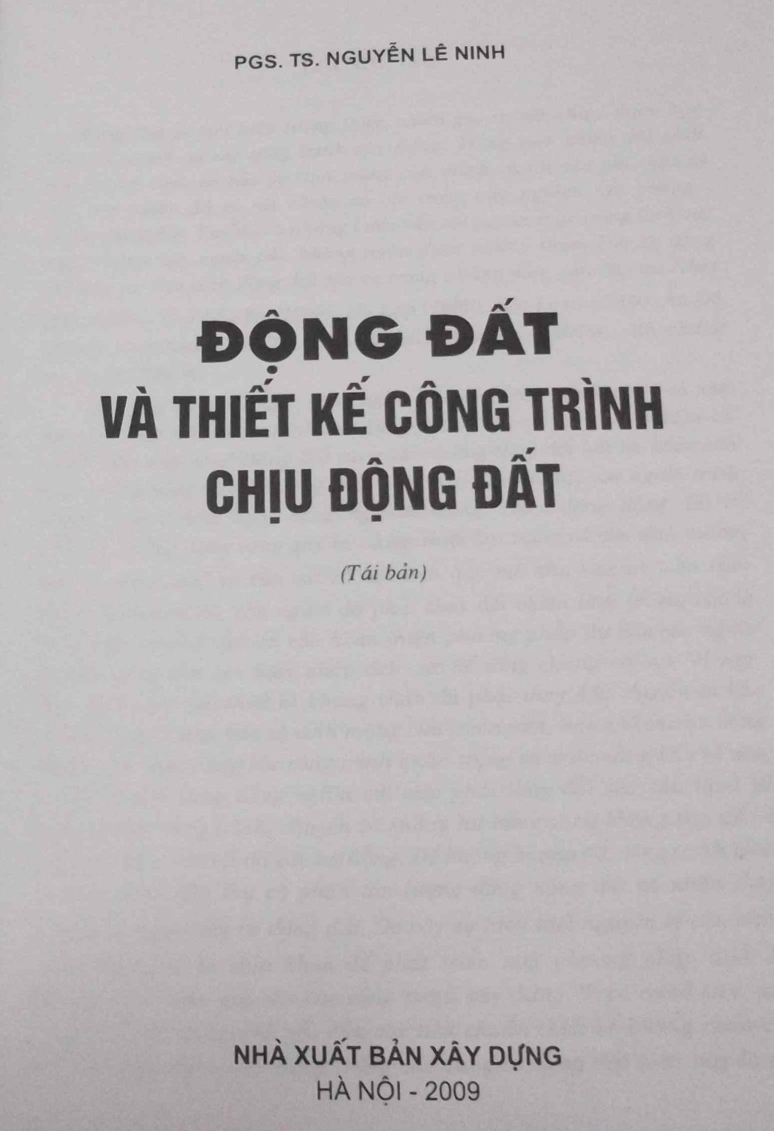 Động đất và thiết kế công trình chịu động đât - PGS.TS. Nguyễn Lê Ninh