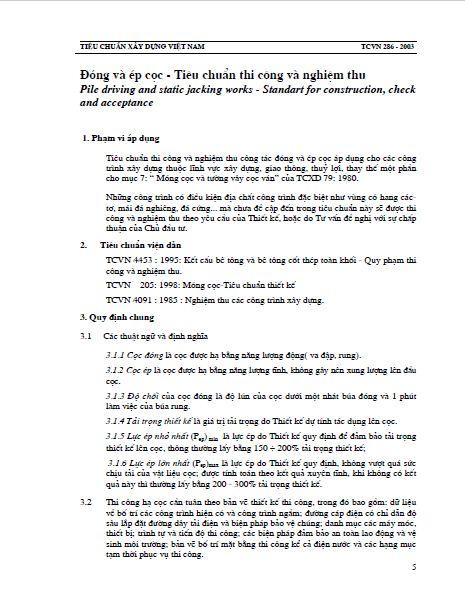 TCVN 286:2003 ĐÓNG VÀ ÉP CỌC - TIÊU CHUẨN THI CÔNG VÀ NGHIỆM THU