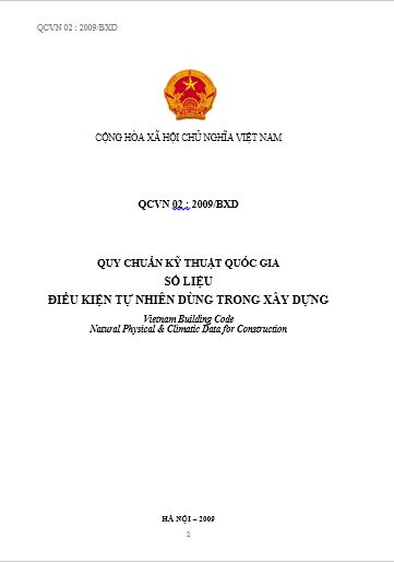 QCVN 02-2009-BXD - QUY CHUẨN KỸ THUẬT QUỐC GIA SỐ LIỆU ĐIỀU KIỆN TỰ NHIÊN DÙNG TRONG XÂY DỰNG