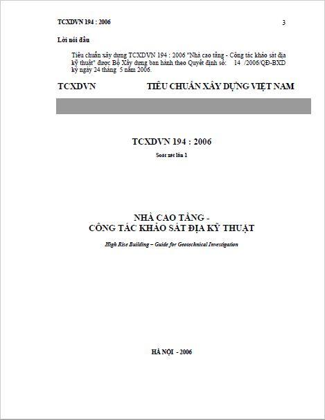 TCVN 194:2006 NHÀ CAO TẦNG - CÔNG TÁC KHẢO SÁT ĐỊA KỸ THUẬT