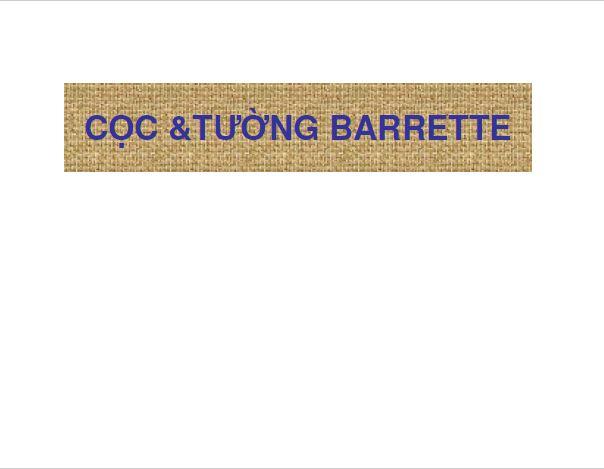 CỌC & TƯỜNG BARRETTE GS.TSKH NGUYỄN VĂN QUẢNG