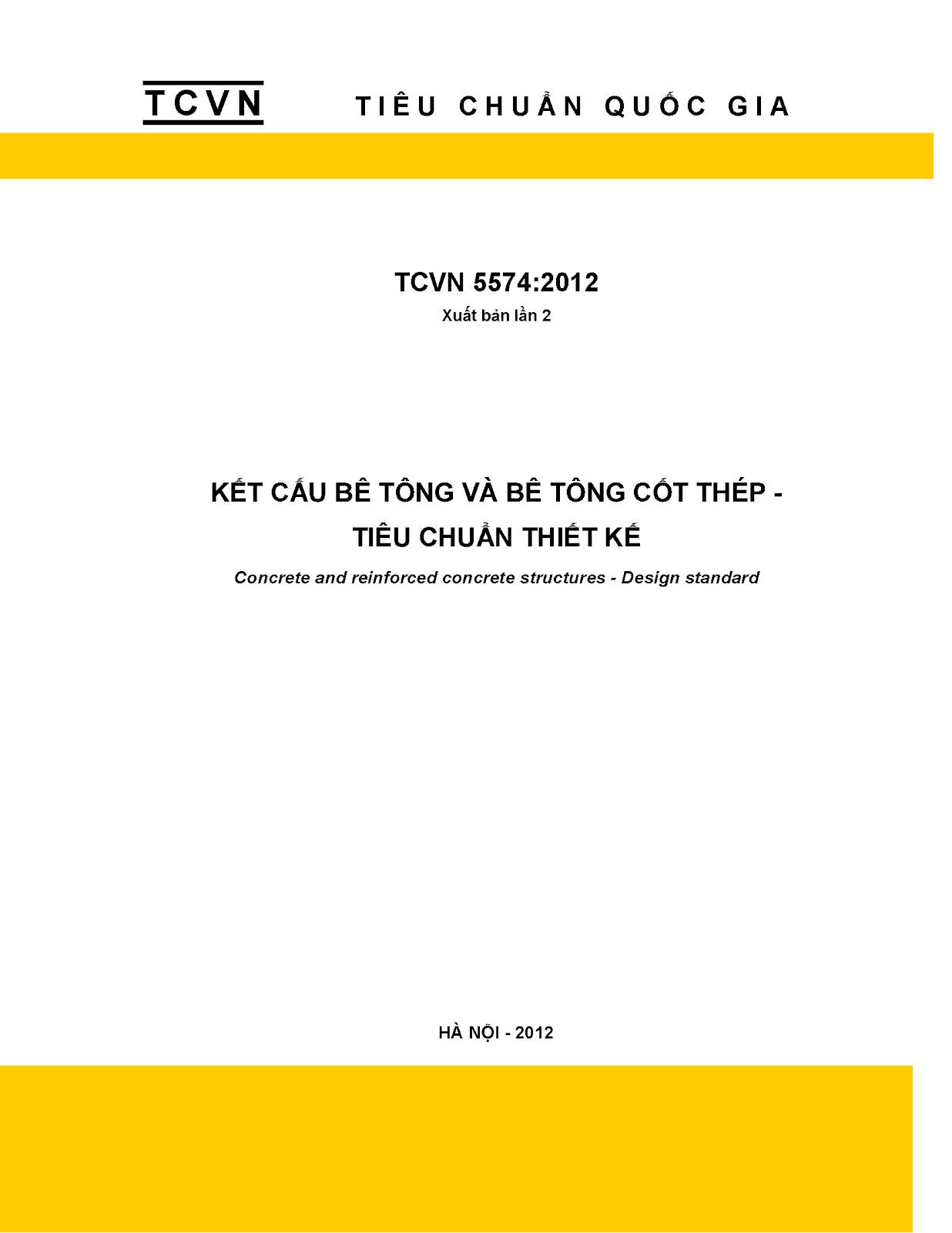 TCVN 5574-2012 - Tiêu chuẩn thiết kế bê tông và bê tông cốt thép